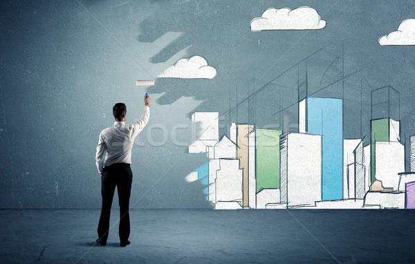 Eladó festmény magas épületek városi fal Stock fotó © ra2studio