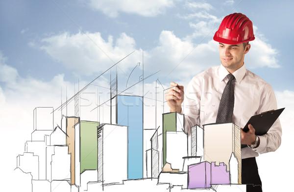 Stock foto: Bauarbeiter · Planung · Stadt · Sehenswürdigkeit · jungen · rot