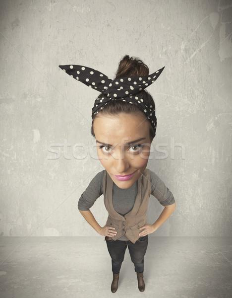 Személy nagy fej vicces lány grunge Stock fotó © ra2studio