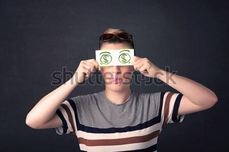 若い女の子 紙 緑 ドル記号 ビジネス ストックフォト © ra2studio