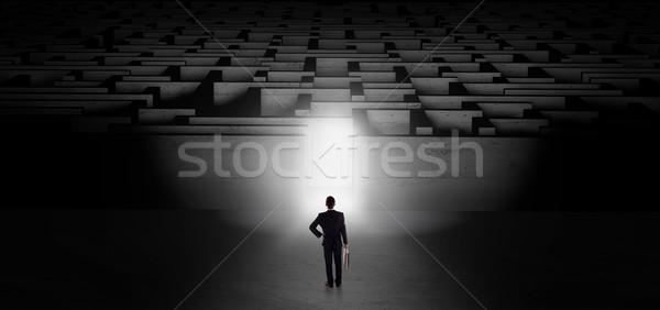Zakenman donkere labyrint uitdagen klaar Stockfoto © ra2studio