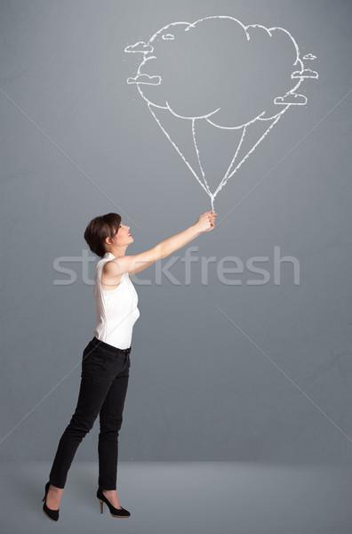 Mooie dame wolk ballon tekening Stockfoto © ra2studio