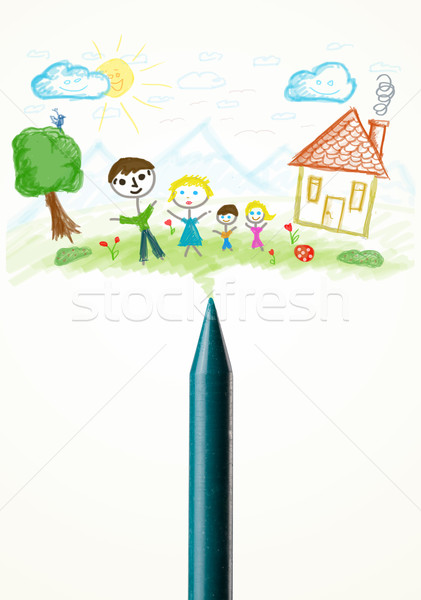Crayon close-up with a drawing of a family Stock photo © ra2studio