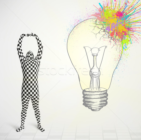 3d human character is body suit morphsuit looking at abstract colorful lightbulb Stock photo © ra2studio