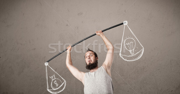 skinny guy trying to get balanced  Stock photo © ra2studio