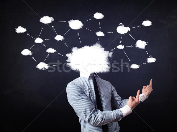 Homme d'affaires réseau cloud tête carte technologie Photo stock © ra2studio