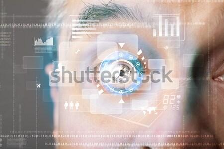 Futuristico moderno uomo tecnologia schermo occhi Foto d'archivio © ra2studio