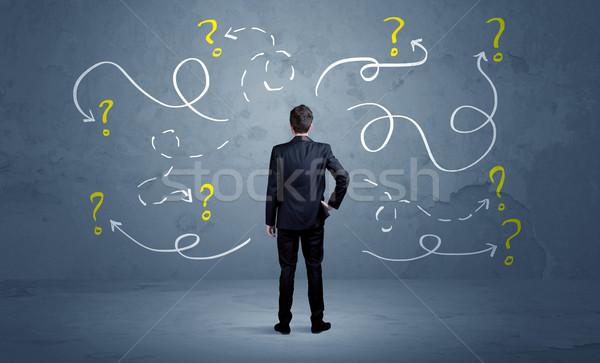 üzletember kérdőjelek eladó kétség konzerv nem Stock fotó © ra2studio