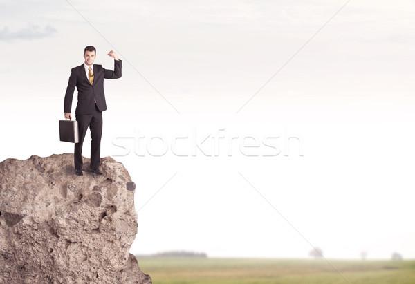 Mutlu satıcı uçurum ülke başarılı iyi görünümlü Stok fotoğraf © ra2studio