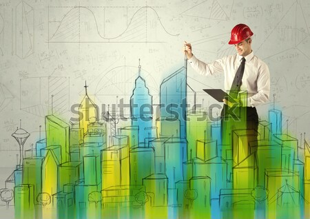 Business architect sketching a cityscape Stock photo © ra2studio