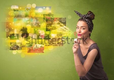 Sevimli kız renkli bellek Stok fotoğraf © ra2studio