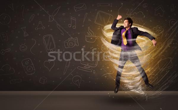 Boldog üzletember ugrik tornádó barna üzlet Stock fotó © ra2studio