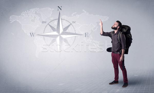 Junger Mann Rucksack gut aussehend stehen zurück Kompass Stock foto © ra2studio