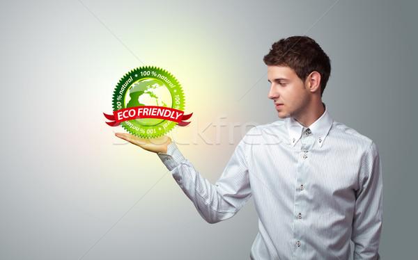 Zakenman virtueel eco teken jonge Stockfoto © ra2studio