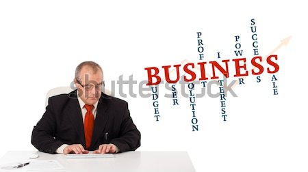businessman sitting at desk and typing on keyboard with word cloud, isolated on white Stock photo © ra2studio