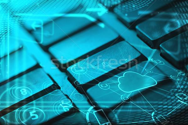Foto stock: Teclado · nube · tecnología · iconos