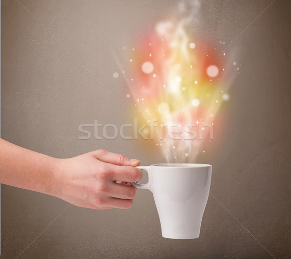 Kávésbögre absztrakt gőz színes fények közelkép Stock fotó © ra2studio