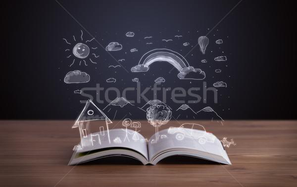 Nyitott könyv kézzel rajzolt tájkép fából készült fedélzet család Stock fotó © ra2studio