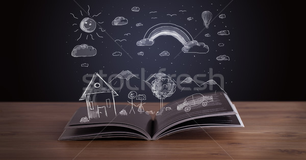 Open book with hand drawn landscape  Stock photo © ra2studio