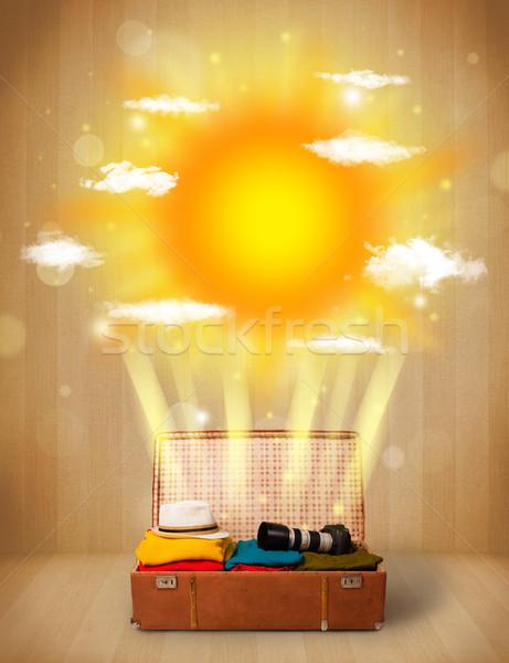 Nyár fényes nap felhők turista táska Stock fotó © ra2studio