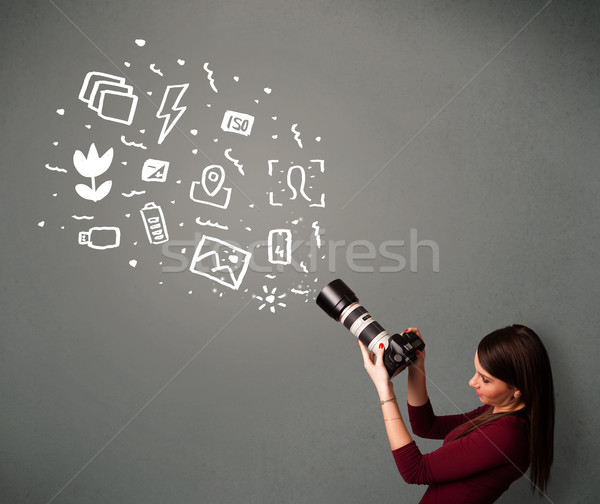 Fotógrafo menina branco fotografia ícones símbolos Foto stock © ra2studio