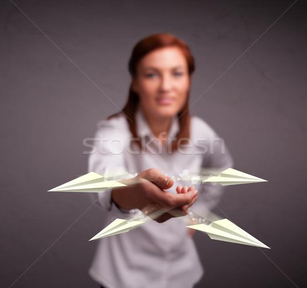 Belo senhora origami jovem Foto stock © ra2studio