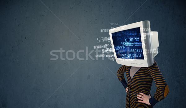 Ludzi monitor pc komputera danych niebieski Zdjęcia stock © ra2studio