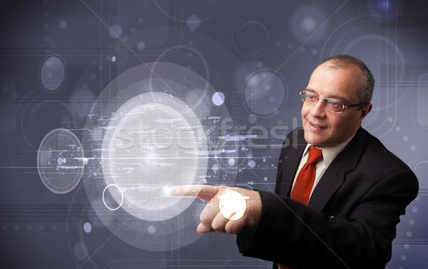 ビジネスマン 触れる 抽象的な ハイテク ボタン ストックフォト © ra2studio