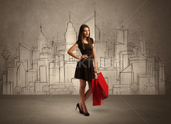 торговых девушки мешки город привлекательный Сток-фото © ra2studio
