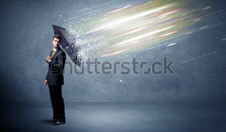 Fashion model shouting colorful splash Stock photo © ra2studio