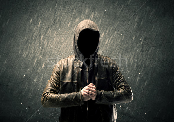 Spooky faceless guy standing in hoodie Stock photo © ra2studio