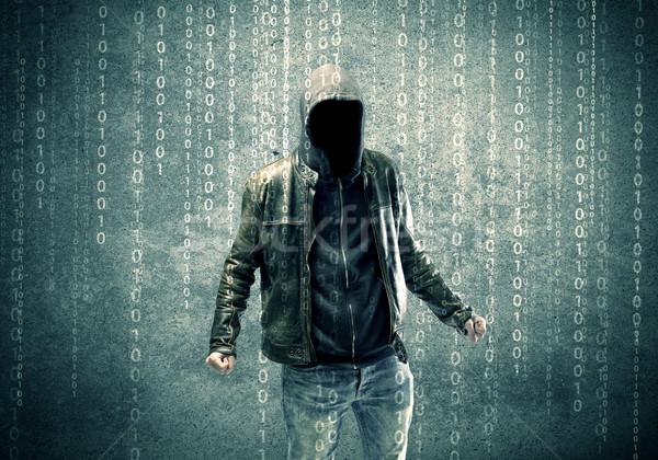 Mérges titokzatos hacker számok felnőtt online Stock fotó © ra2studio