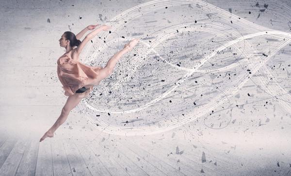 Foto d'archivio: Prestazioni · ballerino · di · danza · classica · jumping · energia · esplosione · particella