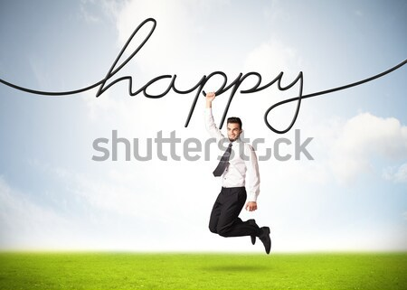 Opknoping zakenman gelukkig touw hand ruimte Stockfoto © ra2studio