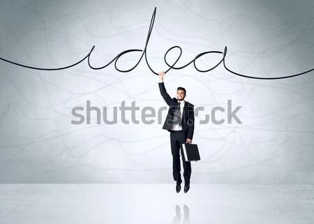 Stockfoto: Opknoping · zakenman · idee · touw · hand · ruimte