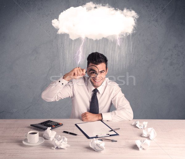 Stressed out businessman at office desk Stock photo © ra2studio