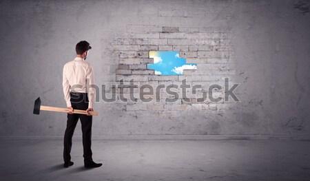 деловой человек кирпичная стена молота человека строительство Сток-фото © ra2studio