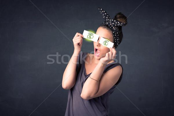 бумаги зеленый знак доллара лице Сток-фото © ra2studio
