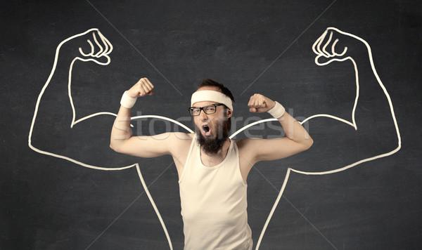 Jovem fraco homem músculos masculino Foto stock © ra2studio