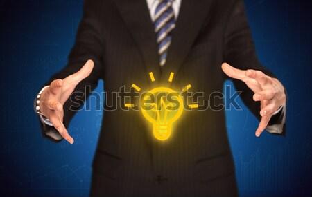 Verkoop vent heldere idee hand creatieve Stockfoto © ra2studio