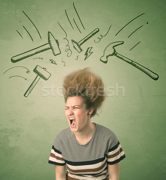 Müde Frau Frisur Kopfschmerzen Hammer Symbole Stock foto © ra2studio
