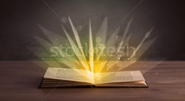 Citromsárga fények könyv nyitott könyv terv háttér Stock fotó © ra2studio