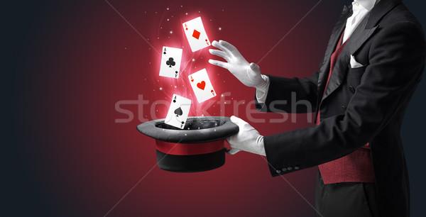 マジシャン トリック トランプ 白 手袋 ストックフォト © ra2studio