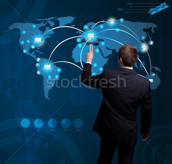 Homme main numérique bouton futuriste Photo stock © ra2studio