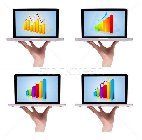 Dimensional colorful chart collection in laptop 1 Stock photo © ra2studio