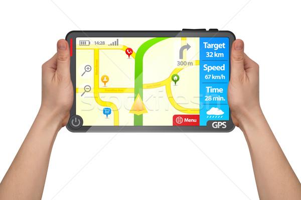 Mannelijke hand touchpad gps tablet Stockfoto © ra2studio