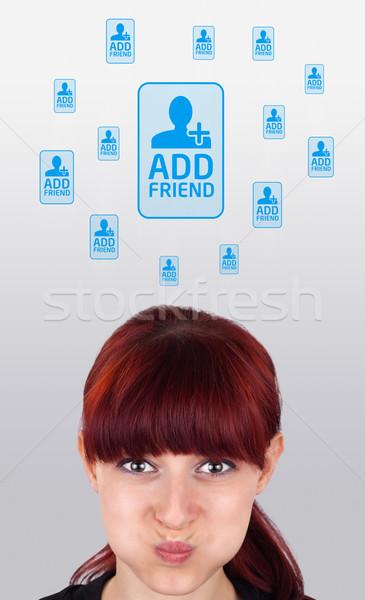 Jong meisje naar sociale type iconen borden Stockfoto © ra2studio