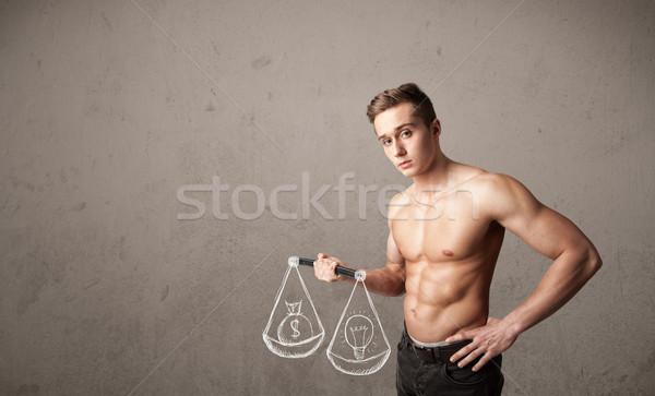 Izmos férfi kiegyensúlyozott erős test tornaterem Stock fotó © ra2studio