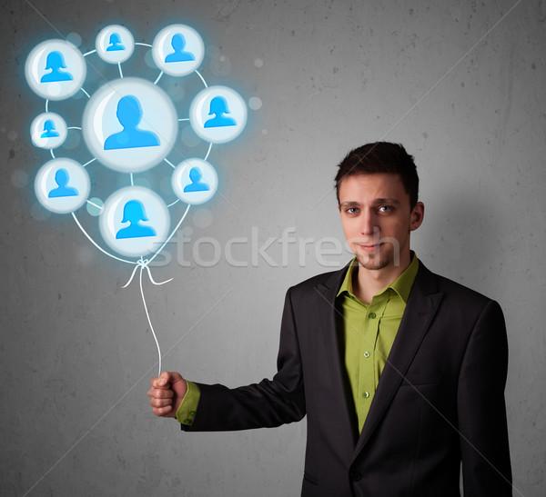 Stockfoto: Zakenman · ballon · jonge · man
