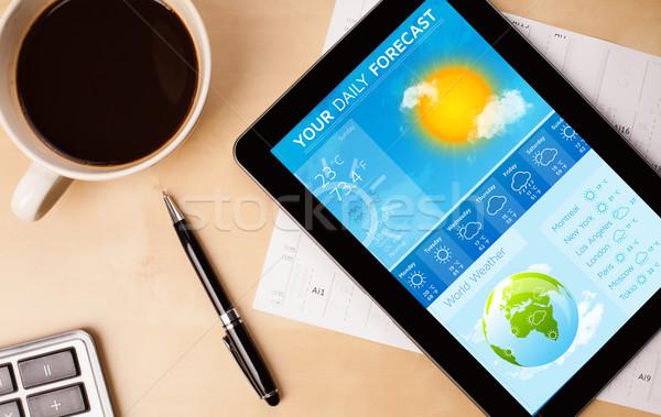 Travail météorologiques prévision tasse Photo stock © ra2studio